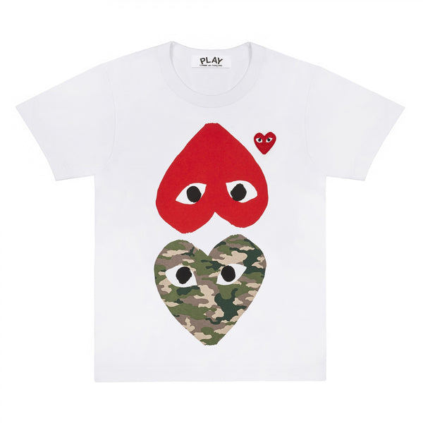 Play T-Shirt with Camo Heart and Red Heart (White)
