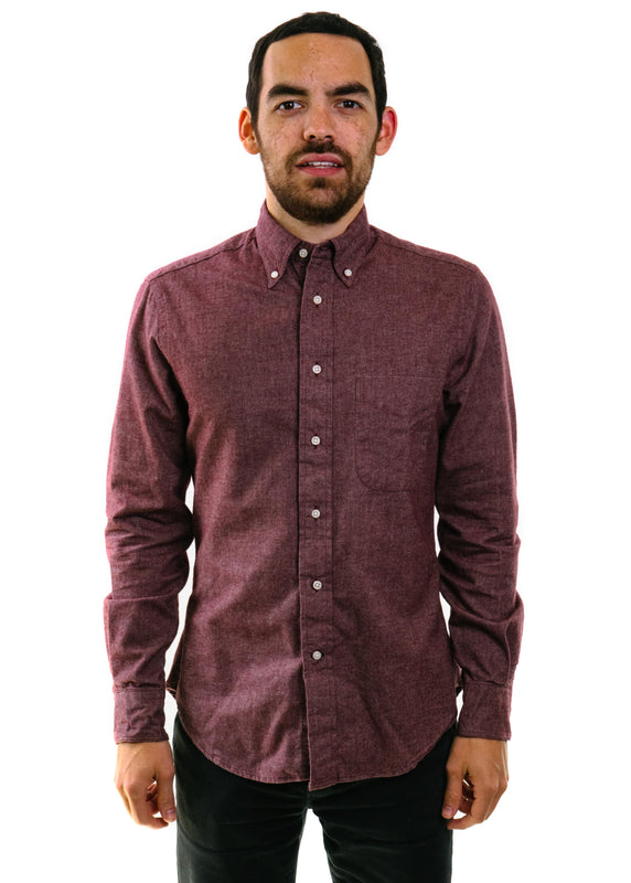 Flannel Chambray Shirt in Burgundy