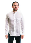 LS Linen Banded Collar Shirt (White)