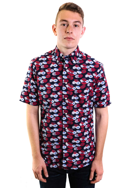 Gitman Vintage Seersucker Short Sleeve Button Down (Navy with Print)