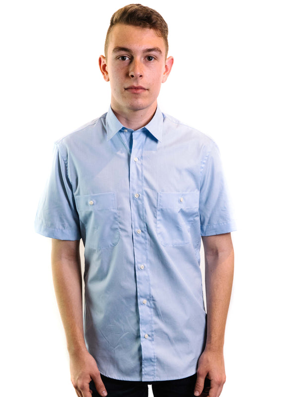 Santiago Andes Zephyr Short Sleeve Button Down Shirt (Blue)