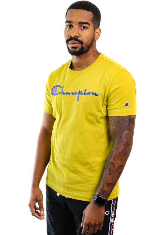 Champion Reverse Weave Embroidered Logo T-Shirt (Vineyard Green)
