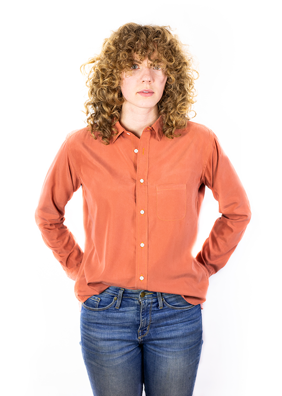 Salmon Rayon Button Down