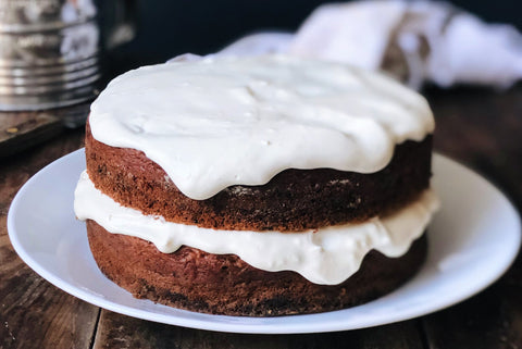 Applesauce Spelt Cake with Cream Cheese and Honey Frosting