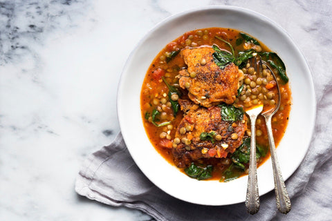Braised Chicken with Lentils and Spinach in Tomato Broth