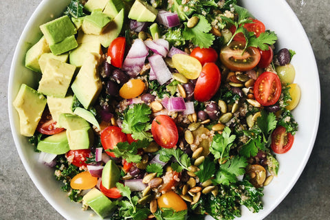Kale Power Salad with Golden Quinoa + Black Beans