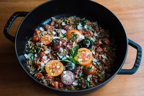 One Pot Farro + Tomatoes