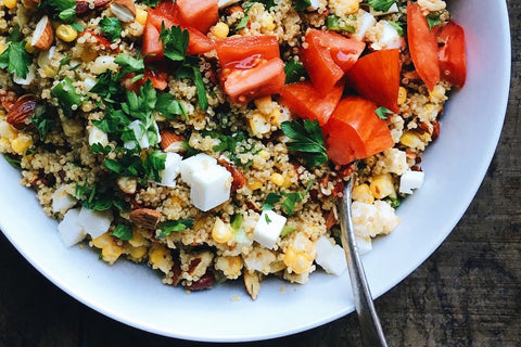 Golden Quinoa Salad with Corn, Cumin + Feta