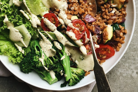 Weeknight Farro Bowl with Creamy Vegan Ranch Dressing