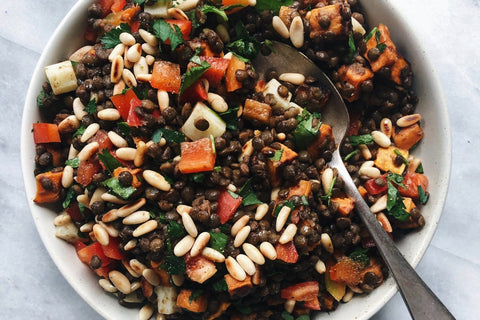 French Lentil Salad with Roasted Yam + Pine Nuts