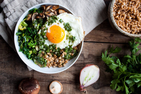 Farro Bowl with Shiitakes + Winter Greens