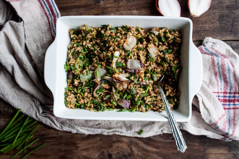 Jana's Farro Salad with Roasted Shallots + Herbed Oil