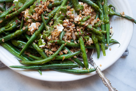 Green Bean + Farro Salad with Basil Mint Vinaigrette