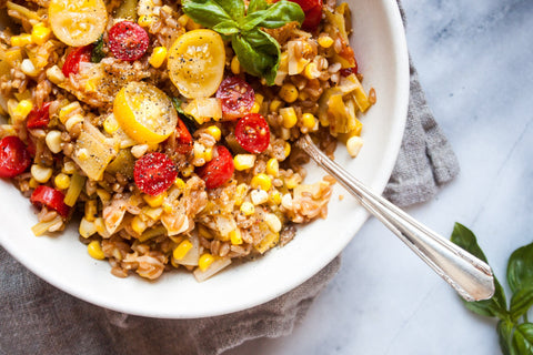 One Pot Farro with Tomatoes, Leeks + Corn