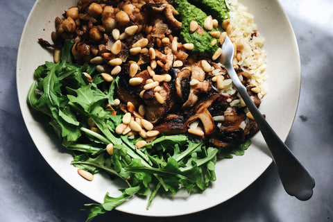 Farro & Kabuli Chickpea Mushroom Bowl with Spring Sorrel Sauce