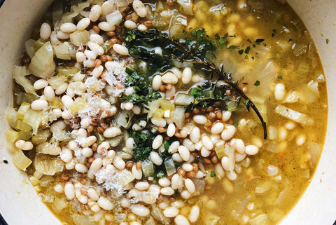 Navy Bean & Wheat Berry Soup