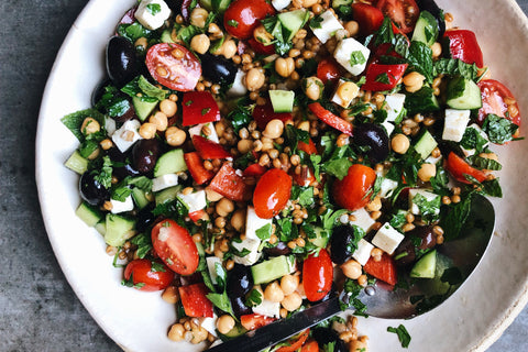 Greek Chickpea + Wheat Berry Salad