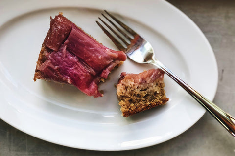 Rhubarb Almond Upside-Down Cake