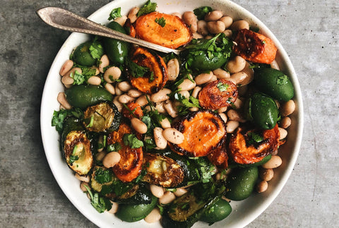 Creamy Pinto Bean + Roasted Vegetable Salad