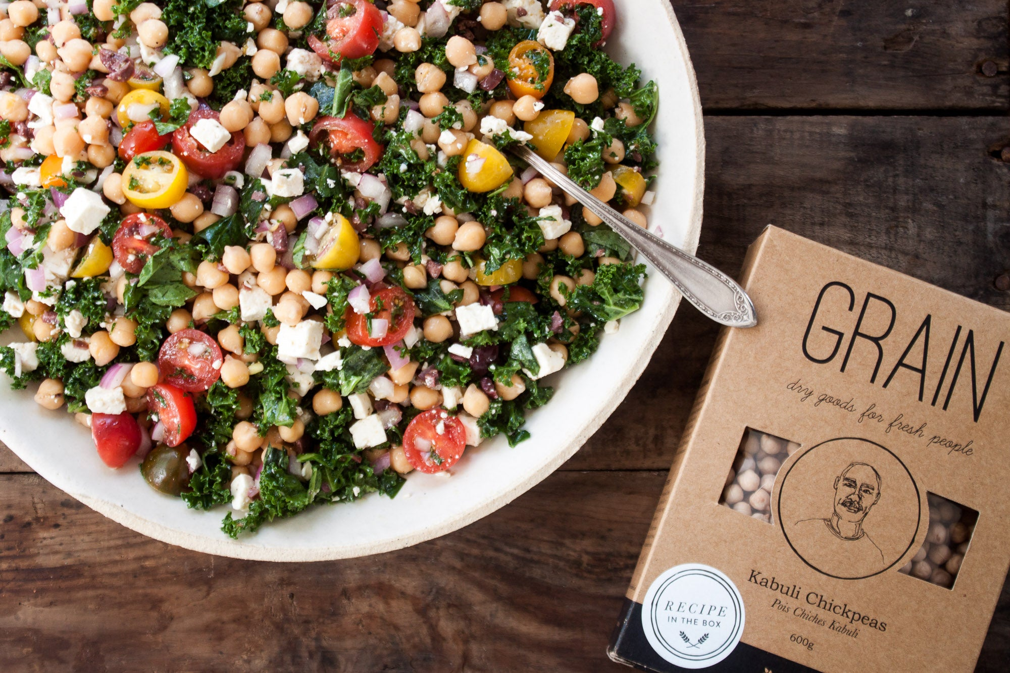 Chickpea Kale Salad with Feta, Olives & Basil