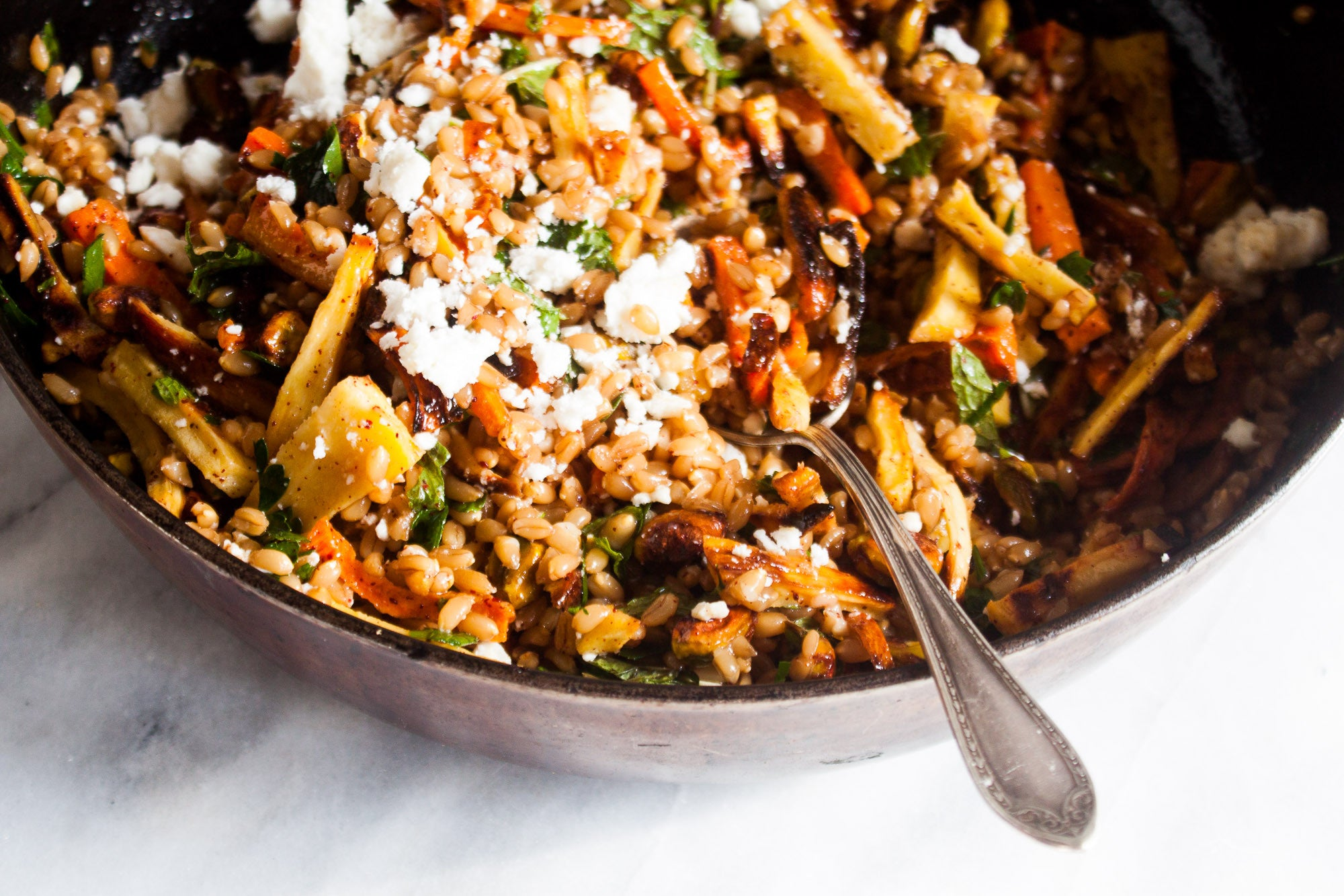 Moroccan Spiced Winter Farro Salad