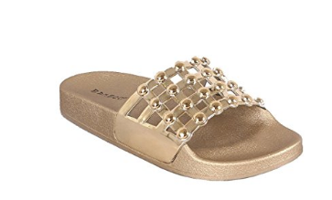 Metallic Open Toe Beaded Caged Slide Sandal