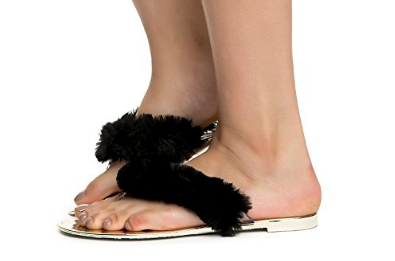 Open Toe Fuzzy Furry Thong Slip On Shoe Sandal