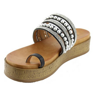 Rhinestone and Pearl Sandal