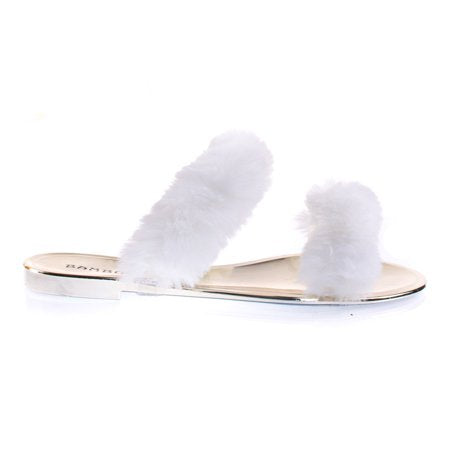Open Toe Fuzzy Furry Slide Sandal