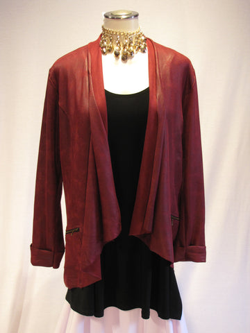 Long Zipper Burgandy Jacket