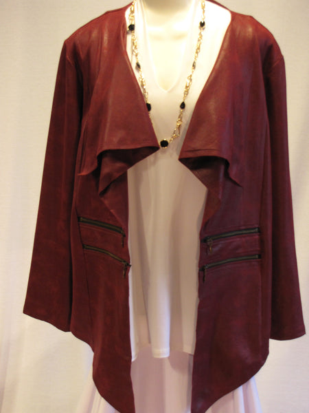 Burgundy Double Zipper Jacket