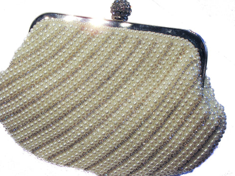 White  Pearl Crystal Clutch