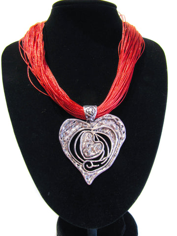 Multi Red Strand with Heart