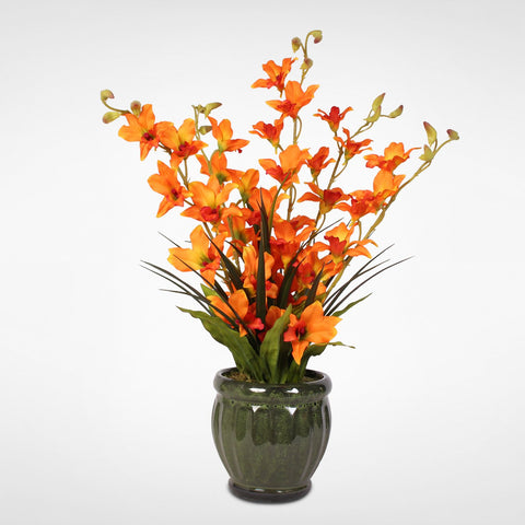 Dramatic Silk Orange Dendrobium Orchids and Greenery in a Green Ceramic Pot