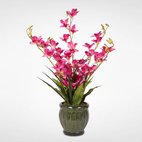 Lush Beauty Pink Silk Dendrobium Orchids with Greenery in a Glazed Green Ceramic Pot