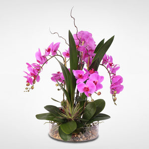 Real Touch Silk Orchids with Succulents and Natural Rocks in Clear Glass Bowl #F-11B