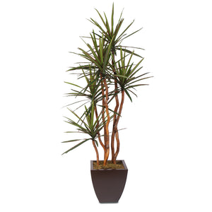 Artificial Yucca Tree with Natural Wood Trunks in a Metal Planter #178