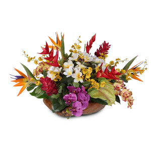 Artificial Tropical Arrangement in a Decorative Teak Bowl #24A
