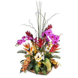 Artificial Tropical Arrangement in a Decorative Teak Bowl #24B