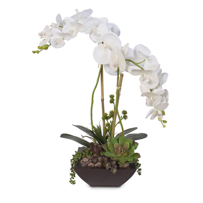 Real Touch White Phalaenopsis Silk Orchid in a Modern Metal Container #29D