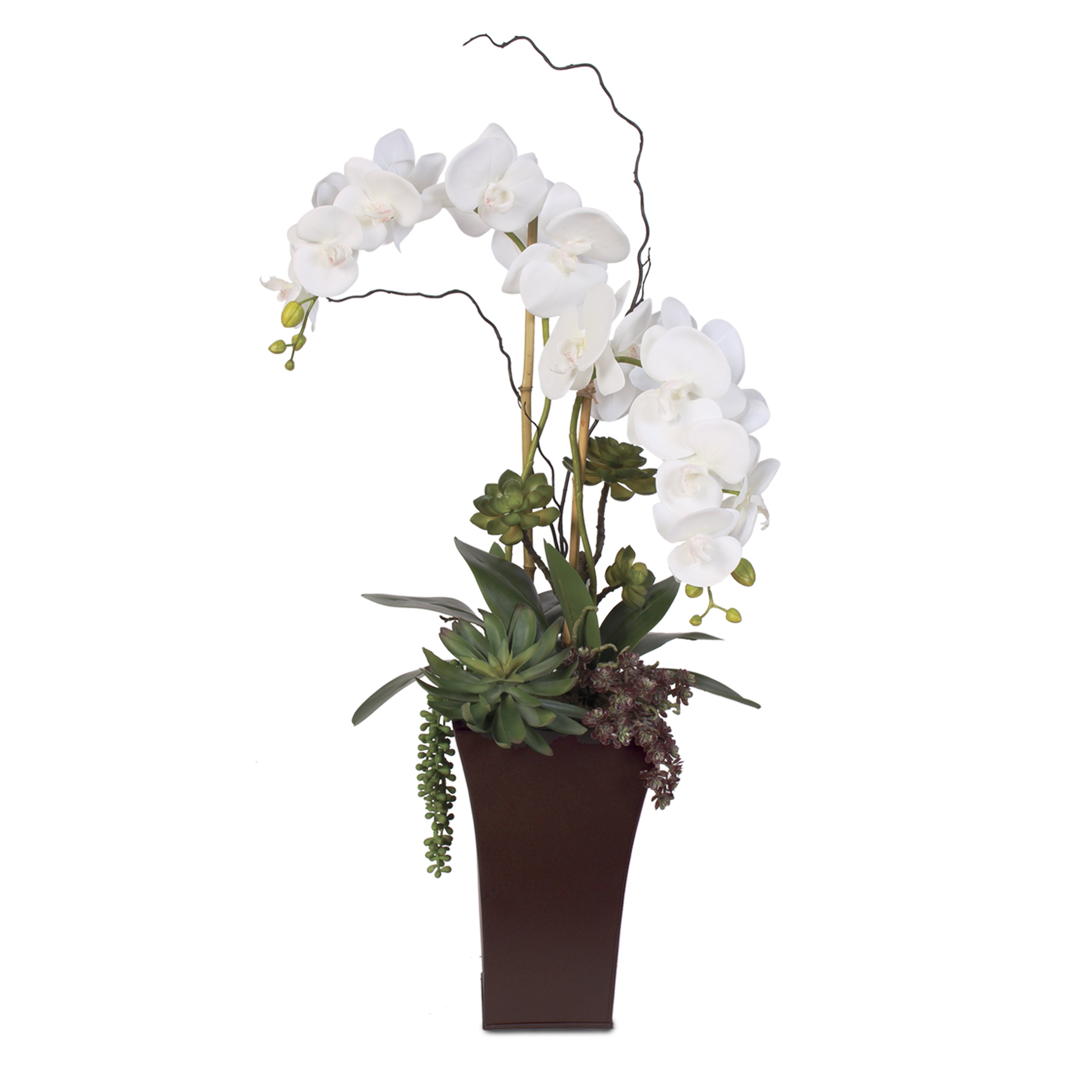 Real Touch White Phalaenopsis Orchid In A Tall Metal Container 39a