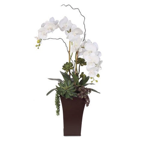 Real Touch White Phalaenopsis Orchid in a Tall Metal Container  #39A