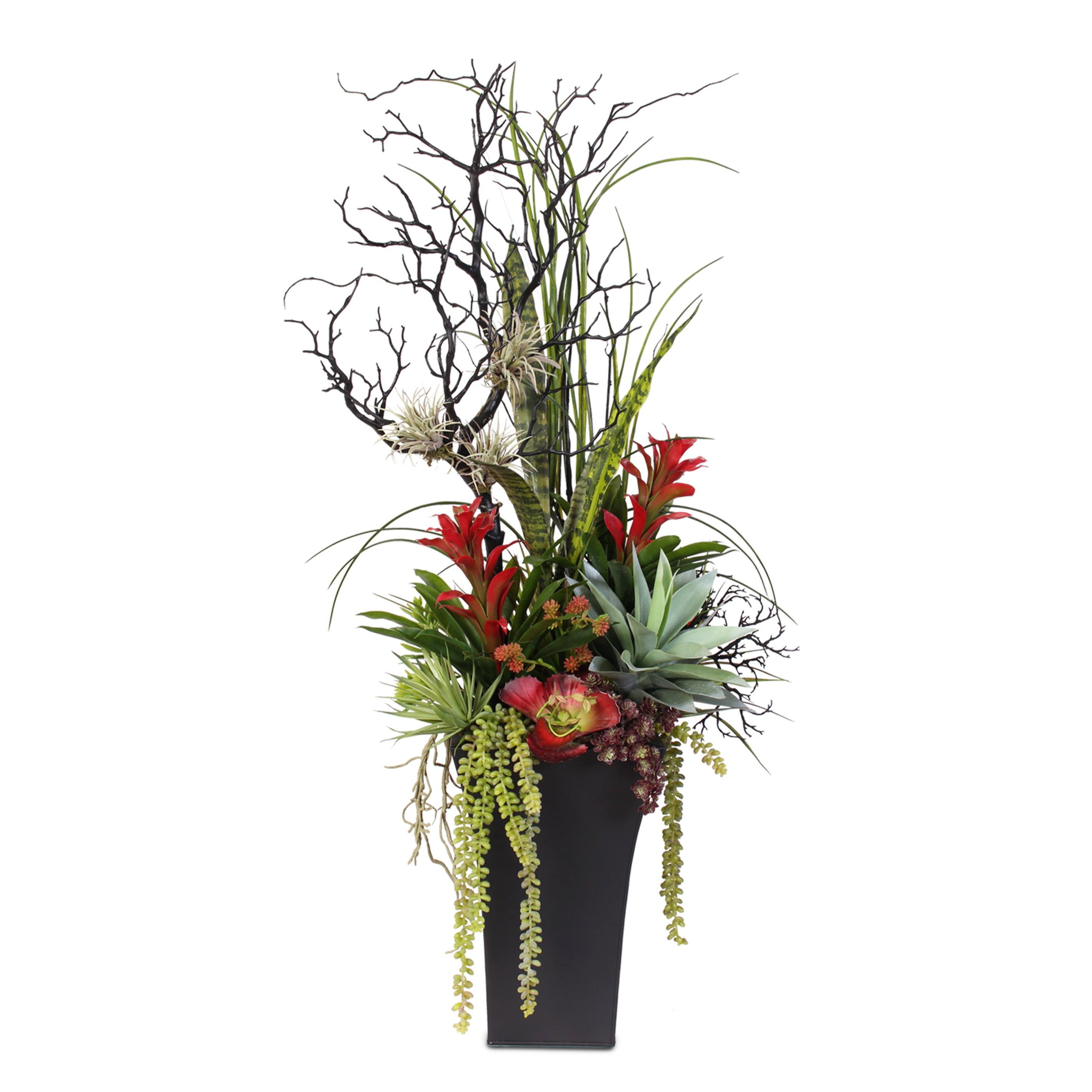 Silk flower arrangements artificial orchid rose peony daisy contemporary arrangement in a tall tin container 42a floridaeventfo Choice Image