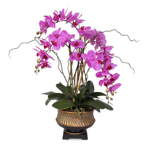 "Parisan Chic Purple Beauty Orchid Nestled in ""Gilded"" Vase #43D"