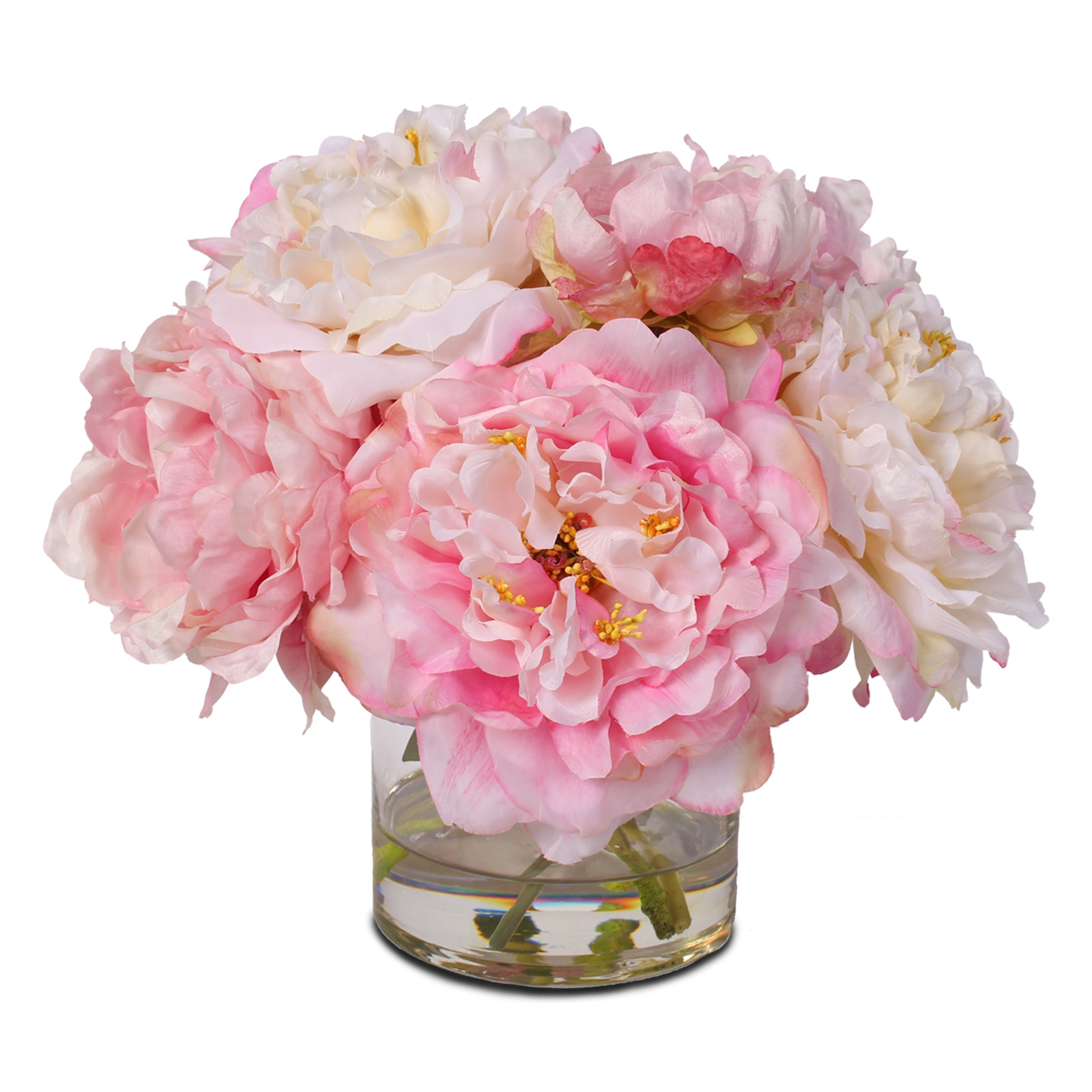 Silk French Peonies Bouquet In Glass Vase With Fake Water 46