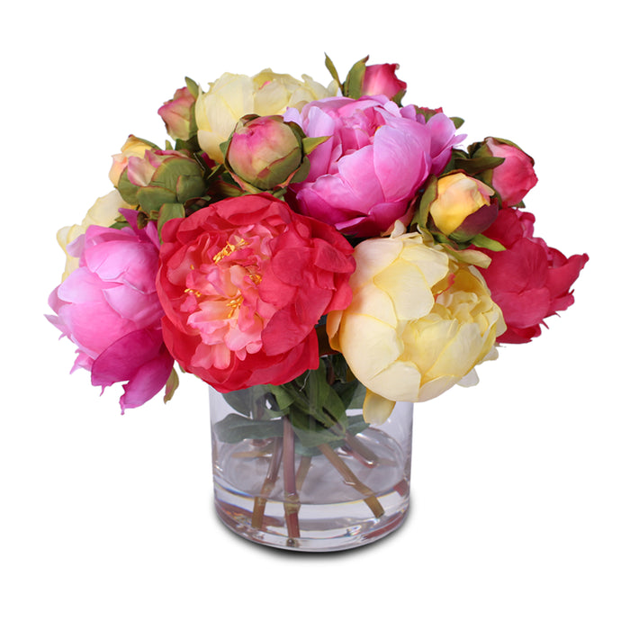 Silk French Peony Bouquet Arrangement in Glass Vase with Fake Water #46C