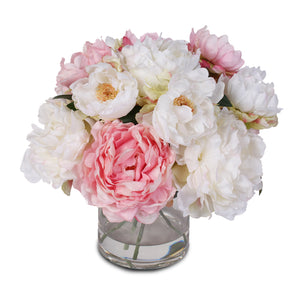 Silk French Peony Bouquet Arrangement in Glass Vase with Fake Water #46W