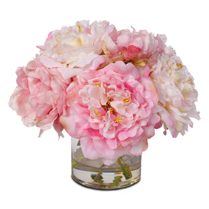 Silk French Peony Bouquet Arrangement in Glass Vase with Fake Water #46