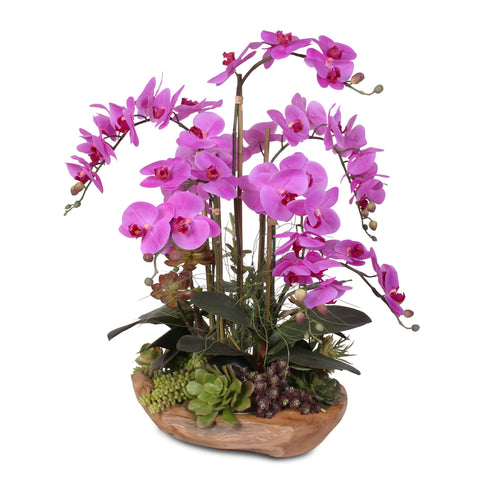 Real Touch Phalaenopsis Silk Orchids with Succulents in Natural Wood Bowl #59B