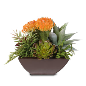 Tropical Artificial Succulents in a Metal Container #61E